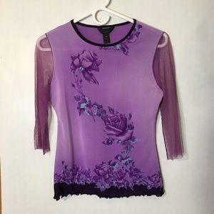 90s vtg grunge floral print stretch mesh top M L