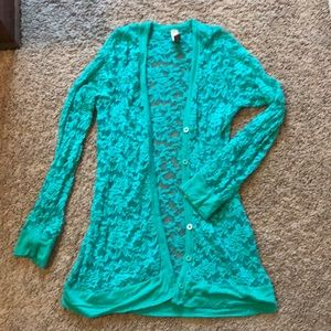 Tops - Teal lace cardigan in great condition