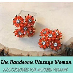 Coro Orange Clip On Earrings Flower Bouquet