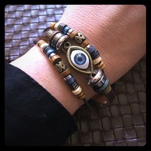 NWT multi strand brown leather evil eye bracelet