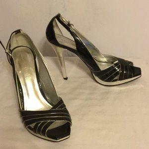 Aldo Black and Silver Peep Toe Heels