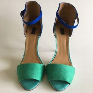 Zara Blue and Teal Colorblock Heels (US 8, EUR 39)