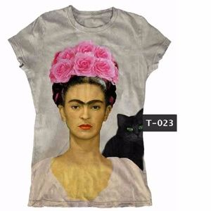 958d3f21 New Frida Kahlo with Black Cat Graphic T-Shirt Tee