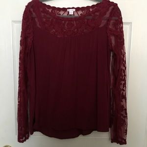 Maroon lace panel blouse