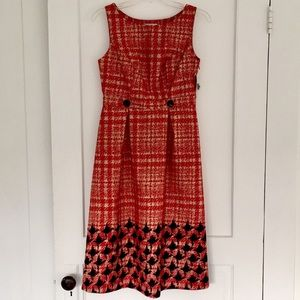 NWT Merona Red Plaid + Houndstooth Dress w Buttons