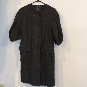Max Azria Grey Vintage-Style Long Wool Coat NWOT