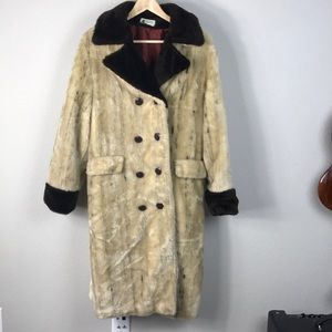 VTG 70s Faux Fur Double Breasted Brown Animal Coat