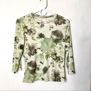 90s vtg grunge floral print stretch mesh top L