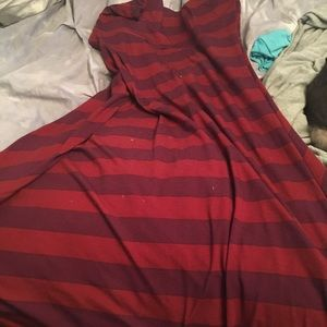 LuLaRoe small maxi with maroon stripes
