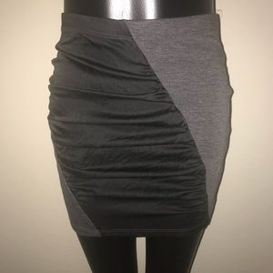 Lush Knit Charcoal Grey & Black Knit Mini Skirt