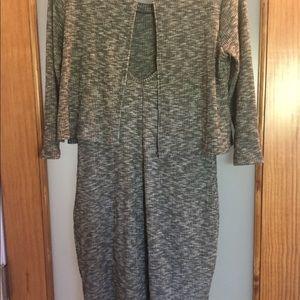 Grey tight long sleeve dress