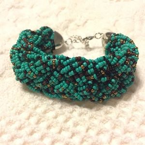 Chunky Braided Turquoise Bracelet