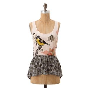 ANTHRO MAEVE Finely Feathered Silk Peplum Tank