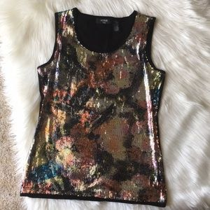 Verve Ami Multicolor Sequin Sleeveless Top - Sz XL