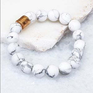 Natural Stone White Stackable Stretch Bracelet
