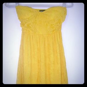 Yeallow Lace Strapless Wet Seal Dress