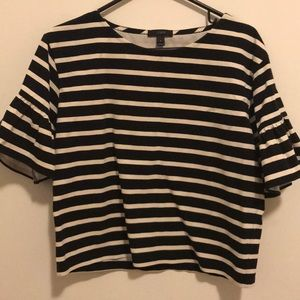 J-Crew striped top with ruffle details