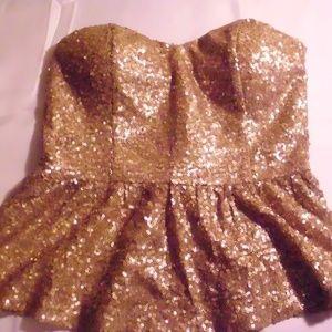 Gold Sequin Strapless Peplum Top