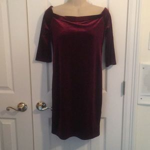 NWT Forever 21 maroon velvet dress- large