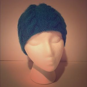 teal Hand Knit Cabled Beanie