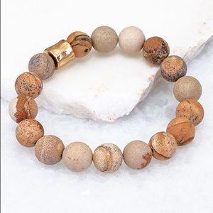 Natural Stone sand Color Stackable Bracelet