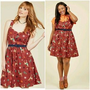 Modcloth Cheerful Caroling Dress