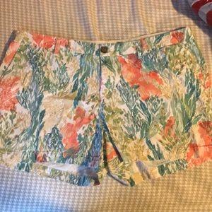 Old Navy Coral Pastel Print Shorts