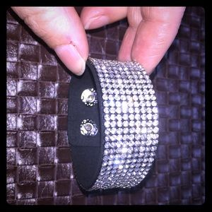 NWT rhinestones black cuff bracelet