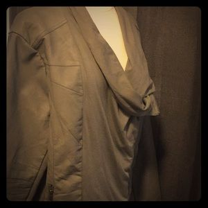 NWOT-Dressbarn Assymetrical Moto-Mushroom Grey