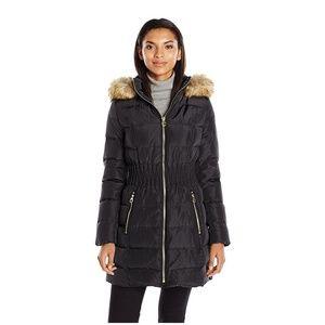 Women's Down Coat with Faux Fur Hood