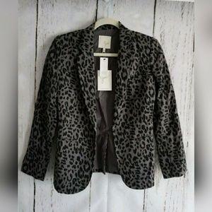 Joie Mehira Linen Cheetah Print Blazer