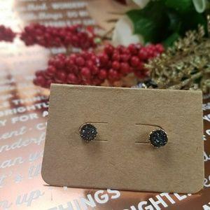 Jewelry - (3/$12) Sparkle Stud Earrings (Black/Gold)