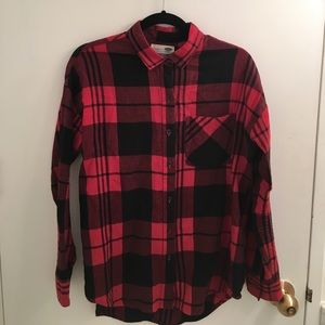 Old Navy Red and Black Puffalo Plaid BF Flannel