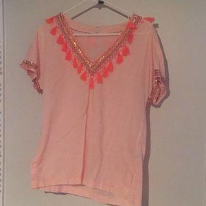 Pink J.Crew tassel and sequin top