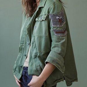Free people embellished military shirt jacket NWT