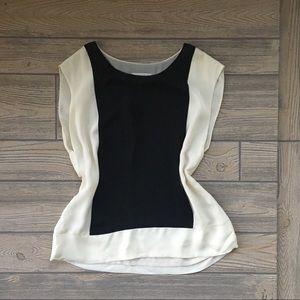 J. Crew 100% silk Sleeve Top Blouse Cream Black