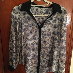 Split back button down floral cotton shirt
