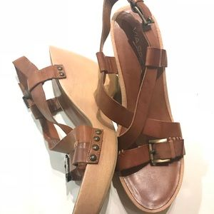 VIA SPIGA ITALY Brown Wood Wedge Sandal Heels 9