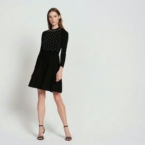 Sandro Vanessa Pearl Embellished Fit & Flare Dress