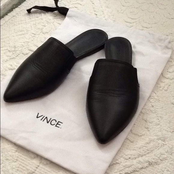 Leather Mules Slides Pointed