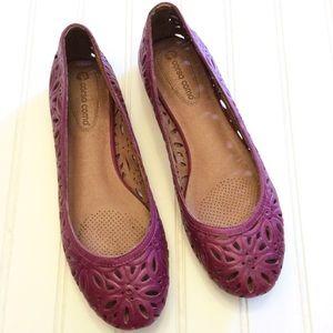 Corso Como Purple calf leather floral flats