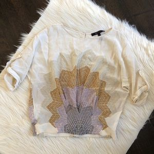 BCBG MAXAZRIA cream sheer sunburst blouse