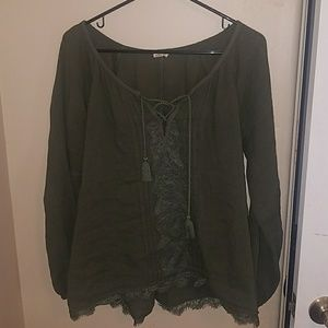 Long sleeve olive colored blouse