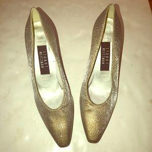 Stuart Weitzman Soft gold metallic sparkly Heels 8