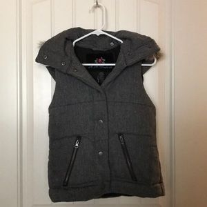 Vest with fur lined hood