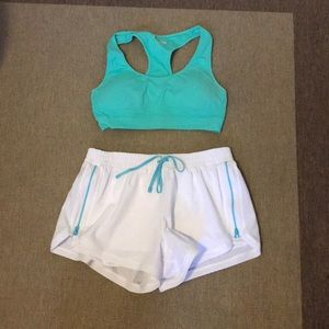 Cute sports bra and shorts workout outfit