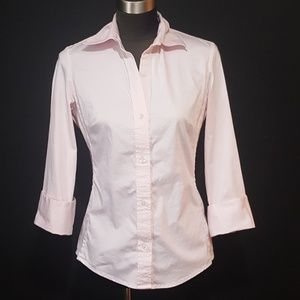 Banana Republic Light Pink Blouse Cuffed Sleeve