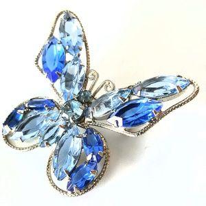 Vintage JULIANA Blue Rhinestone Butterfly Brooch