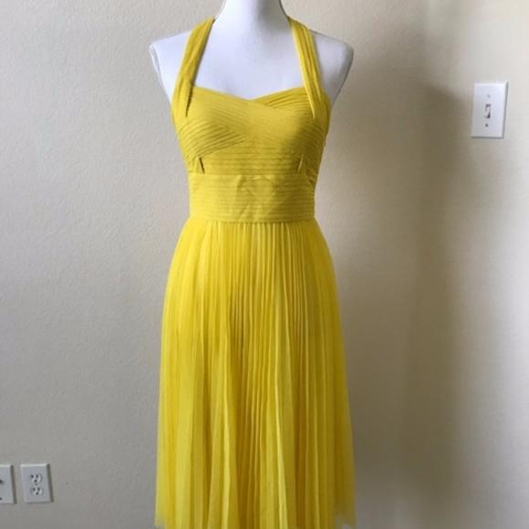 95aa376b880a Sue Wong Dresses | Yellow Halter Pleated Empire Waist Dress | Poshmark
