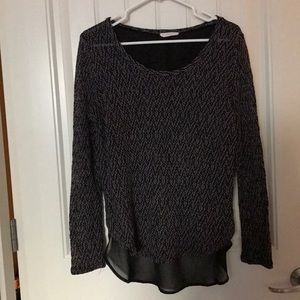 Hi/lo knitted top with chiffon back